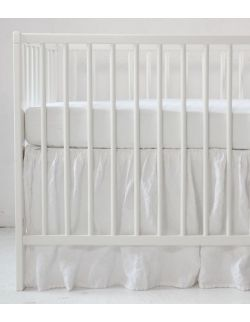 Lniana falbanka do łóżeczka pure white