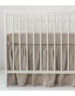 Lniana falbanka do łóżeczka natural
