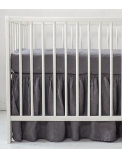 Lniana falbanka do łóżeczka true grey