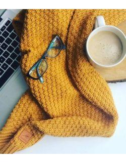 Mięciutki i delikatny kocyk tkany dla niemowląt i dzieci- musztardowy