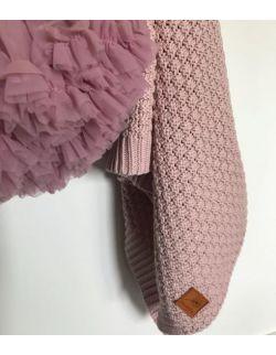 Mięciutki i delikatny kocyk tkany dla niemowląt i dzieci- blady róż