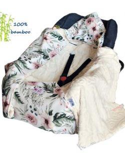 Kocyk do fotelika bambusowy Kwiaty& vine ivory