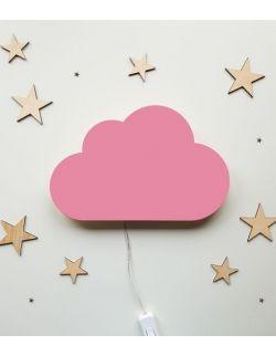 Drewniana lampka nocna - chmurka różowa