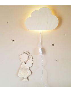 Drewniana lampka nocna - chmurka