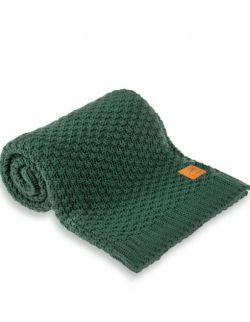 Mięciutki i delikatny kocyk tkany dla niemowląt i dzieci- butelkowa zieleń