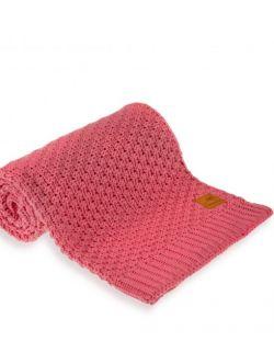 Mięciutki i delikatny kocyk tkany dla niemowląt i dzieci- malina