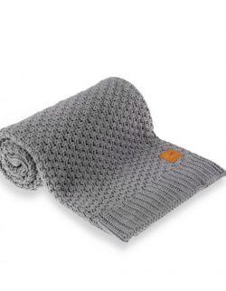 Mięciutki i delikatny kocyk tkany dla niemowląt i dzieci- ciemnoszary