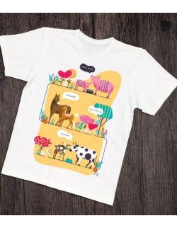 Koszulka interaktywna dla taty i malucha ZWIERZĄTKA NA FARMIE