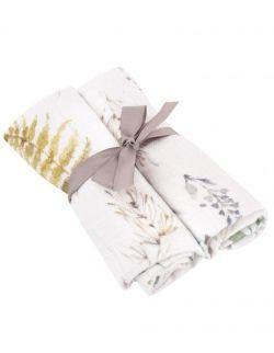 Pieluszki premium z muślinu bambusowego z jonami srebra leśny 50x50 cm 2 szt.