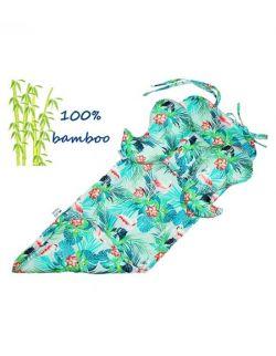 Wkładka do wózka Bambusowa + Podusia Flamingi