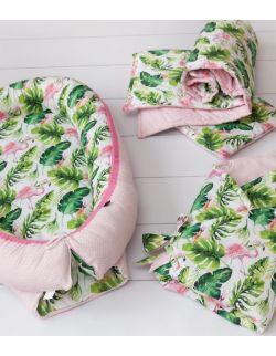 Starter niemowlęcy Flamingi i Liście: kokon + pościel + rożek