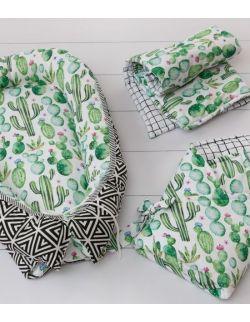 Starter niemowlęcy Kaktusy: kokon + pościel + rożek