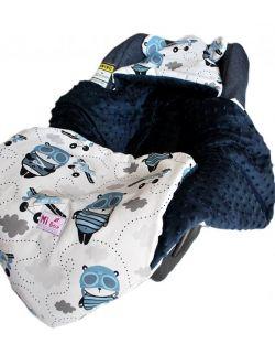 Śpiworek/ Kocyk do fotelika Panda pilot& navy dots