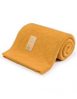 Ciepły podwójnie tkany kocyk bawełniany 80x100 mustard