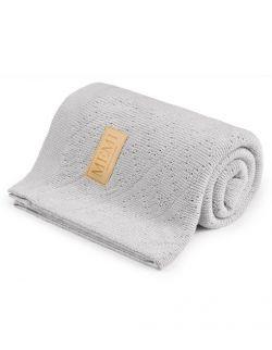 Ciepły podwójnie tkany kocyk bawełniany 80x100 light grey