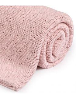 Ciepły podwójnie tkany kocyk bawełniany 80x100 powder pink