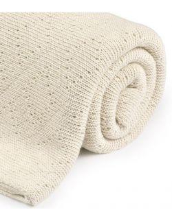 Ciepły podwójnie tkany kocyk bawełniany 80x100 ecru