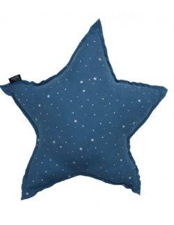 poduszka gwiazda muślinowa blue stardust