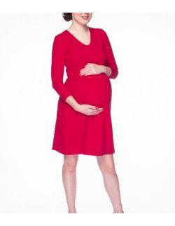 Sukienka ciążowa i do karmienia Carry rękaw 7/8 karminowa czerwień