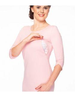 Sukienka do karmienia Milky Dress rękaw 3/4 pudrowy róż