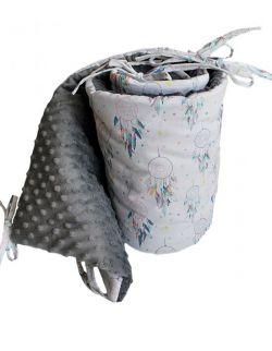Ochraniacz do łóżeczka na szczebelki Łapacze& grey dots