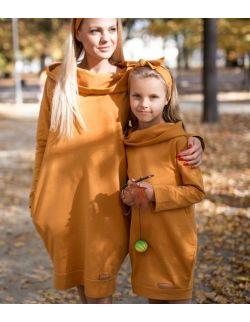 Komplet tunik z kapturem dla mamy i córki