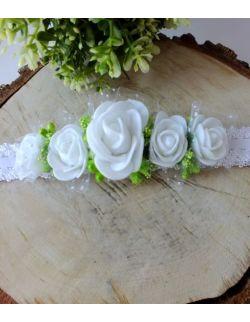 Opaska Wianuszek Białe Róże na Białej Gumce