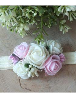 Opaska Wianuszek Ecru i Różowe Róże na Ecru Gumce