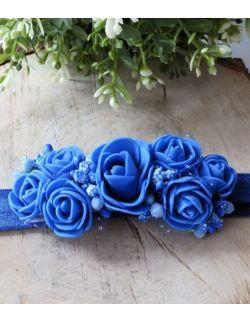 Opaska Wianuszek Chabrowe Róże na Niebieskiej Gumce