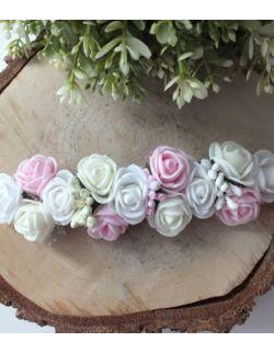 Opaska Wianuszek Różowe, Białe i Ecru Róże na Różowej Gumce