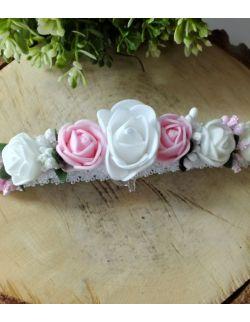 Opaska Wianuszek Białe, Różowe i Ecru Róże na Białej Gumce
