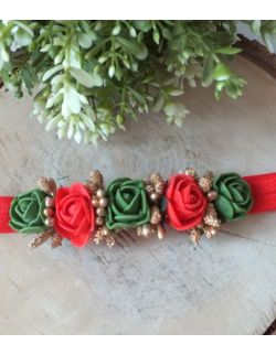 Opaska Wianuszek Czerwone i Zielone Róże na Czerwonej Gumce