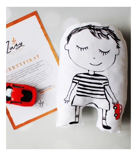 przytulanka chłopiec z samochodem prezenty dla niemowlaka olsztyn dla chlopca