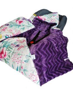 Kocyk do fotelika z wypeł.- zimowy Summer flowers& chevron fiolet