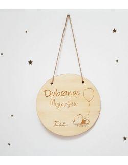 Drewniany proporczyk - Dobranoc Misiaczku
