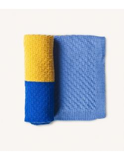 Kocyk z wełny merino niebiesko żółty