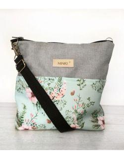 wodoodporna torebka dla dziewczynki Ninki® (kwiatki na turkusowym tle)