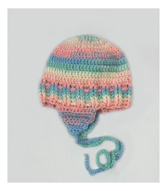czapeczka z nausznikami różowo-niebieski melanż Willow Hand Made