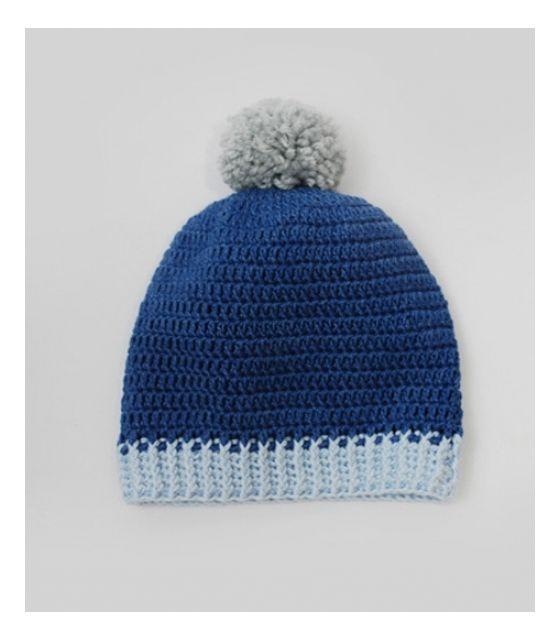czapeczka niebieska z pomponem Willow Hand Made