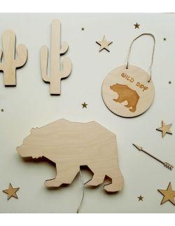 Drewniana lampka nocna - Niedźwiedź geometryczny