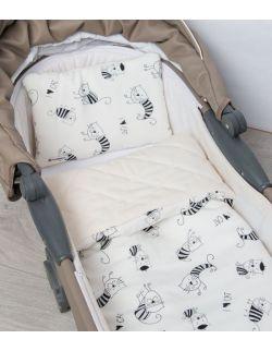 Kocyk do Gondoli Dwustronny Velvet i Bambus, Koty 65x75 cm