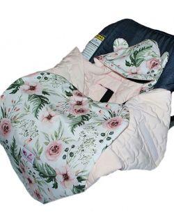 Śpiworek/ Kocyk do fotelika Watercolor& velvet pink