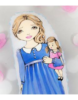 lalka handmade szmaciana recznie malowana personalizowana lalka podobna do dziewczynki w niebieskiej sukience