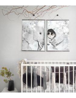 TILO - 2 duże plakaty na płótnie do pokoju dziewczynki, ilustracja na ścianę, dekoracja dla dziecka