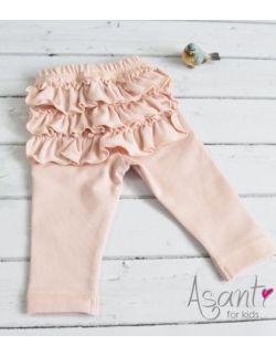 Bawełniane legginsy niemowlęce z falbankami MORELOWE