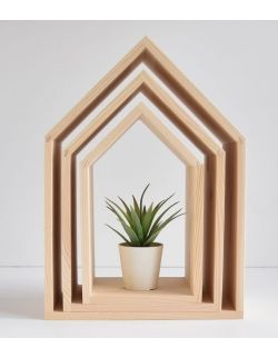 Półki domki bez pleców - kolor naturalny