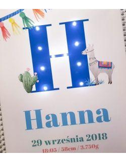 ŚWIECĄCA METRYCZKA z lamą, personalizowany obraz LED, dla dziecka, imię, prezent, narodziny, chrzest, roczek