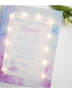 ŚWIECĄCY obraz LED z imieniem modlitwa anioł pamiątka chrztu