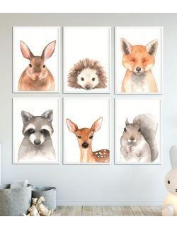 Galeria 6 obrazków ze zwierzakami A3 LAS