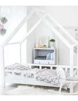 Łóżko Domek Maya dla dzieci drewniane 70x140 90x140 biały,szary, rózówy Barierki Szuflada drugie spanie